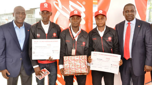 L-R: Managing Director, Coca-Cola Nigeria Limited, Adeola Adetunji; Beneficiaries of Nigerian Bottling Company's (NBC) Technical Training Centre (TTC), Aderogba Oluwadamilare Akinyemi, Soyinka Abidemi Dayo and Ibeh Joseph; Managing Director, NBC, Ben Langat and Supply Chain Capability Development Manager, NBC, Michael Lutz during the presentation of certificates to graduating students at the 23rd Graduating Ceremony of NBC's Technical Training Centre's Sets 27 and 28 which held at NBC's Ikeja Plant, Agidingbi, Ikeja, Lagos on Wednesday, November 18, 2015
