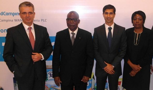 From left, Chief Operating Officer, Royal FrieslandCampina, The Netherlands, Mr. Gregory Sklikas; Chairman Board of Directors, FrieslandCampina WAMCO, Mr Moyo Ajekigbe; Managing Director, Mr. Rahul Colaco; and Director, Mrs. Oyinkan Ade-Ajayi at the 43rd Annual General Meeting of the company held in Lagos, Thursday May 12, 2016