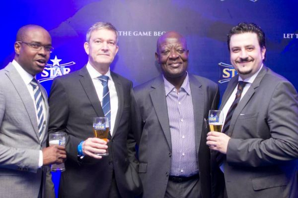 Tokunbo Adodo, Portfolio Manager, National Premium, Nigerian Breweries Plc; Nicolaas Vervelde, MD, Nigerian Breweries Plc; Nduka Irabor; Franco-Maria Maggi, Marketing Director, Nigerian Breweries Plc at the partnership ceremony at Eko Hotel & Suites