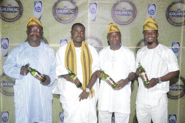 L-R: Joseph Bodunrin, Regional Business Manager, Ibadan; Funso Ayeni, Senior Brand Manager, Regional Mainstream Brands, Nigerian Breweries Plc; Ope Oluwalusi, Zonal Business Manager, West, Nigerian Breweries Plc; Josiah Akinola, Assistant Brand Manager, Regional Mainstream Brands, Nigeria Breweries Plc at the unveiling of Goldberg Lager Beer as 'Your Excellency' in Ibadan on Sunday