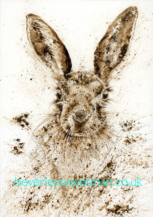 Brown Hare walnut ink painting