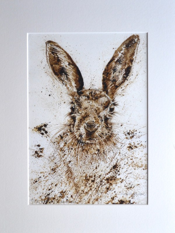 Hare walnut ink painting limited edition print