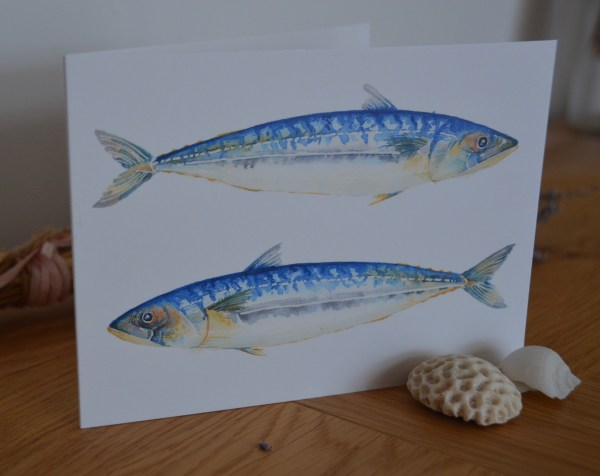 Blue mackerels greetings card