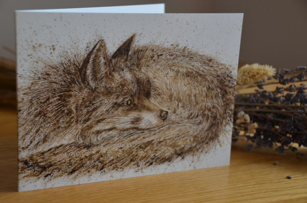 Sleeping fox greetings card