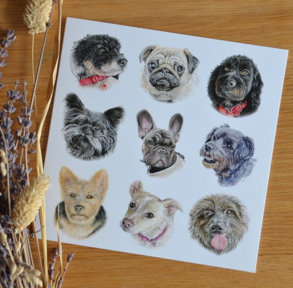 Small dog breeds greetings card