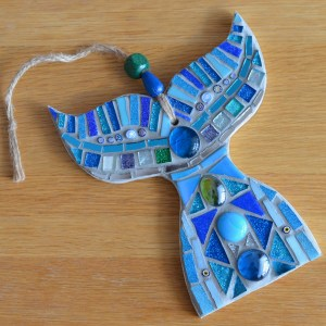Blue whale tail mosaic wall art