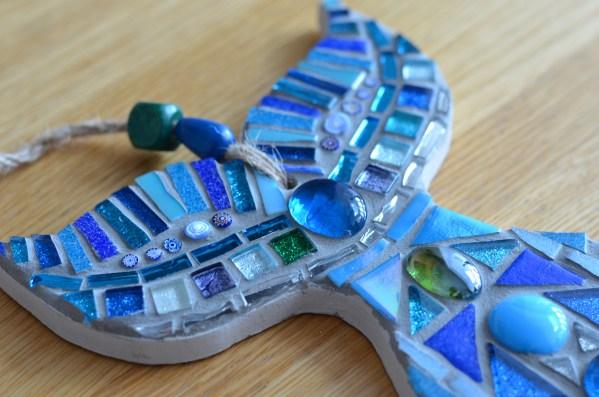 Blue whale tail mosaic wall art