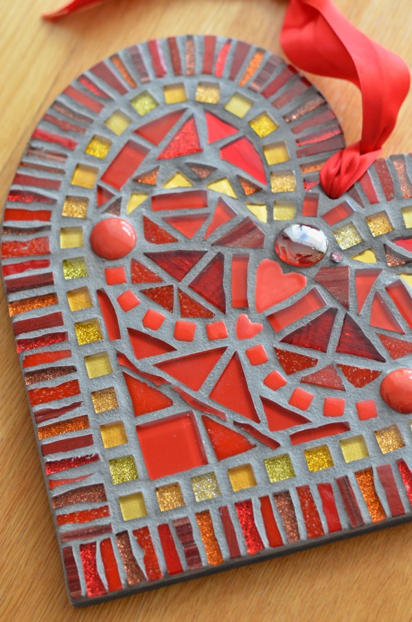 Red and gold mosaic heart wall art