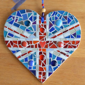 Union jack mosaic heart wall art
