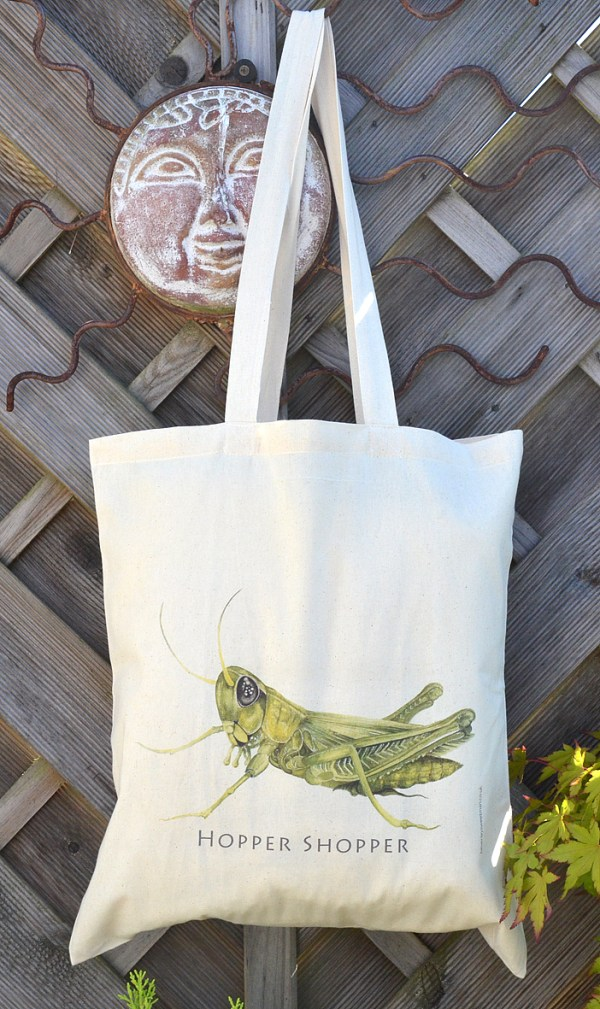 Grasshopper cotton tote bag