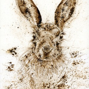 Hare walnut ink painting