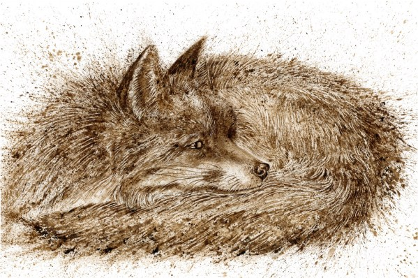 Sleeping fox walnut ink painting