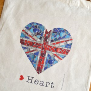 Union jack mosaic cotton tote bag