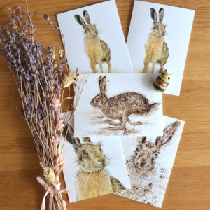 Brown hare greetings card set