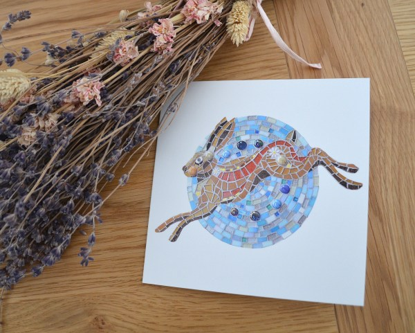 Hare and the moon greetings card