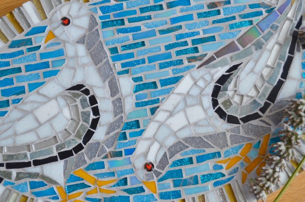Blue and white dove mosaic detail