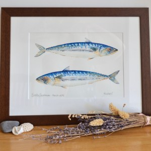 Two Mackerels watercolour painting