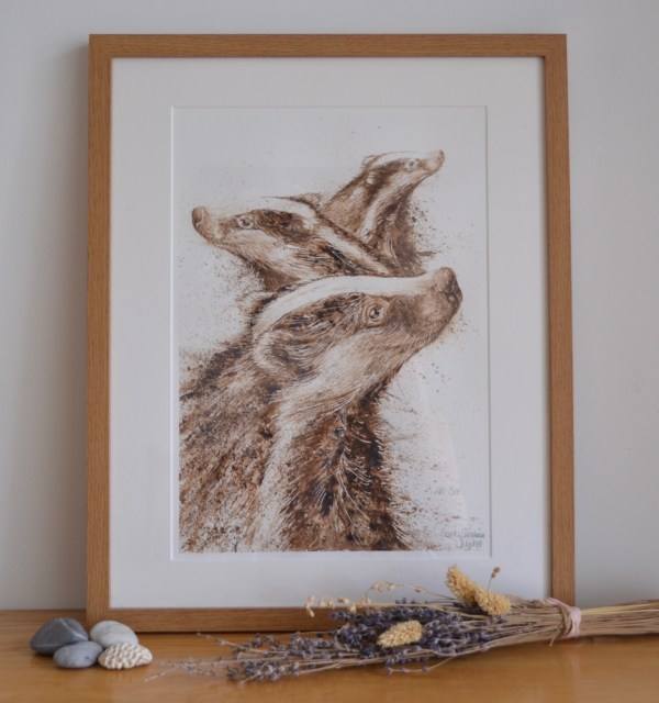 Badgers walnut Ink painting