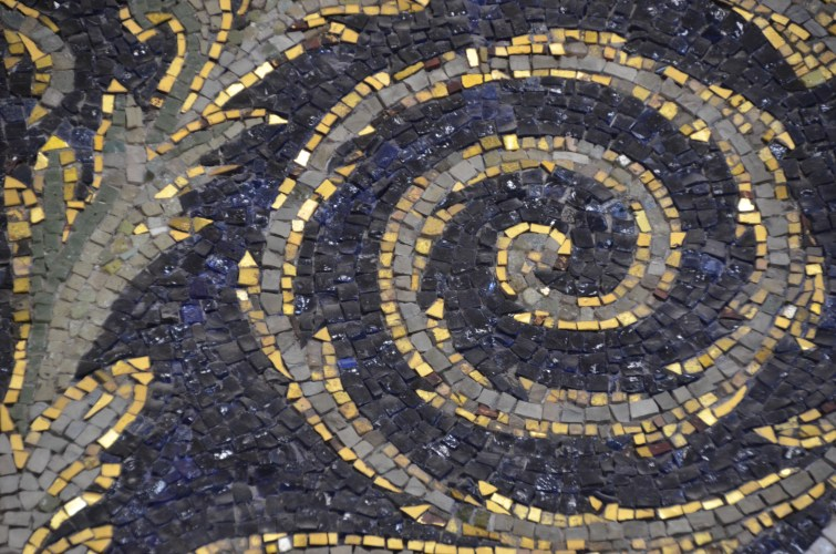 Ravenna gold and blue mosaic detail