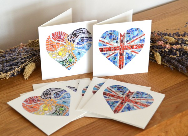 Union Jack and Rainbow Mosaic Heart greeting cards