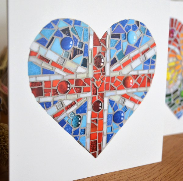 Union Jack Mosaic Heart greeting card
