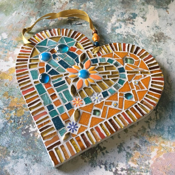 Heart shaped mosaic orange and blue