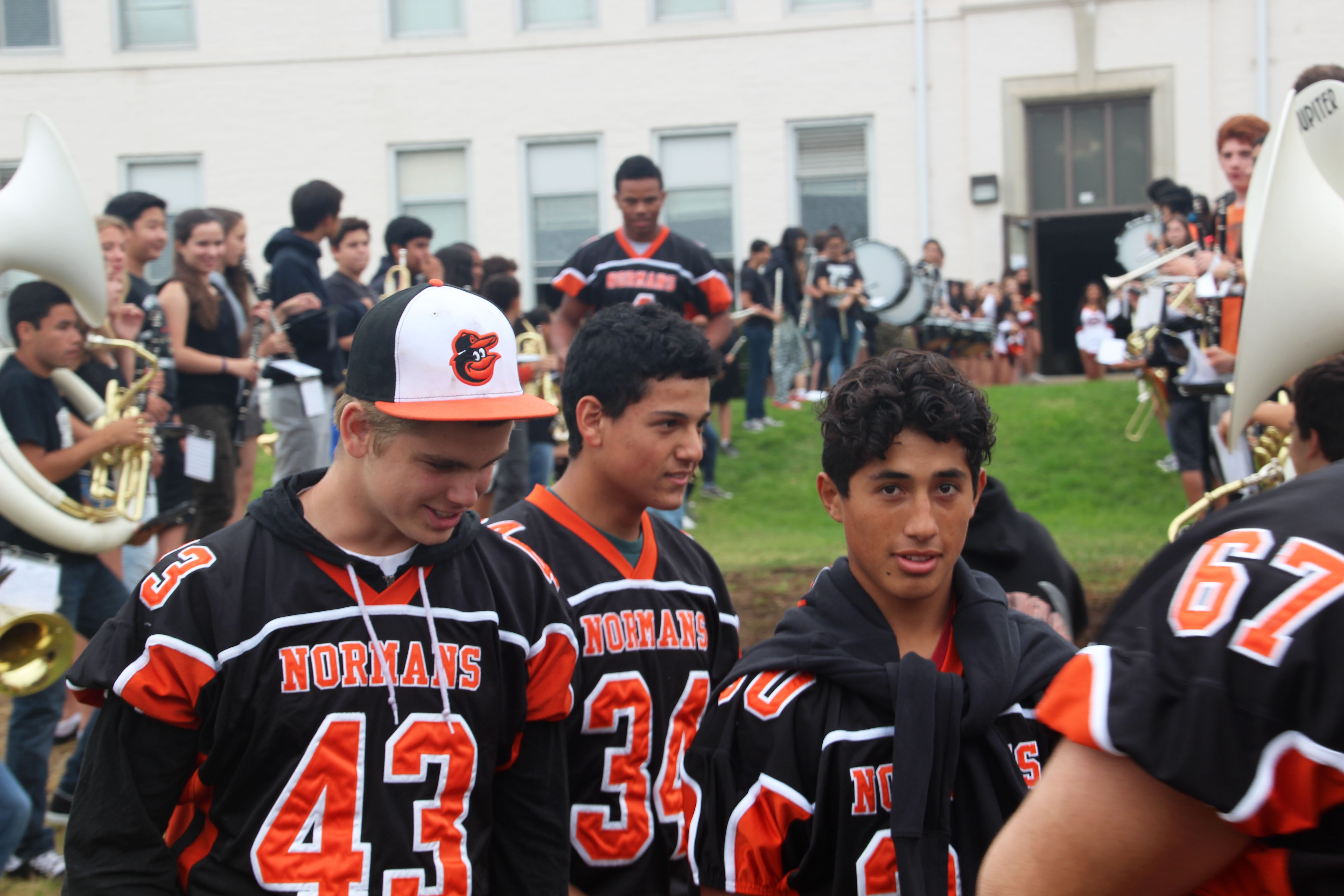 The frosh-soph football team participates in the pep rally for their game against the San Gabriel Matadors.