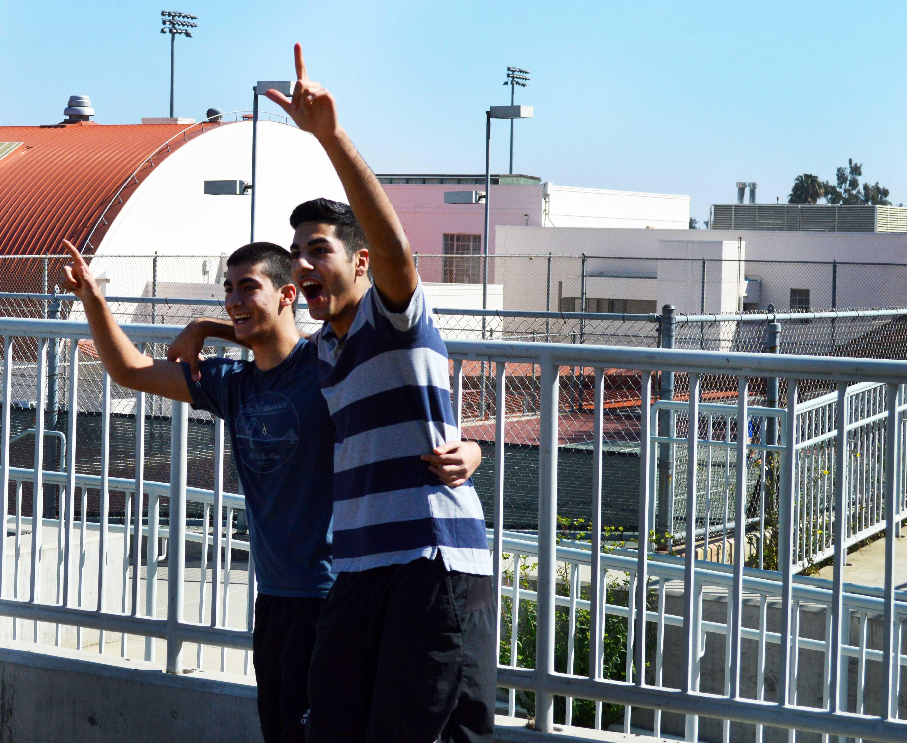 Juniors rejoice after winning the three-legged race.
