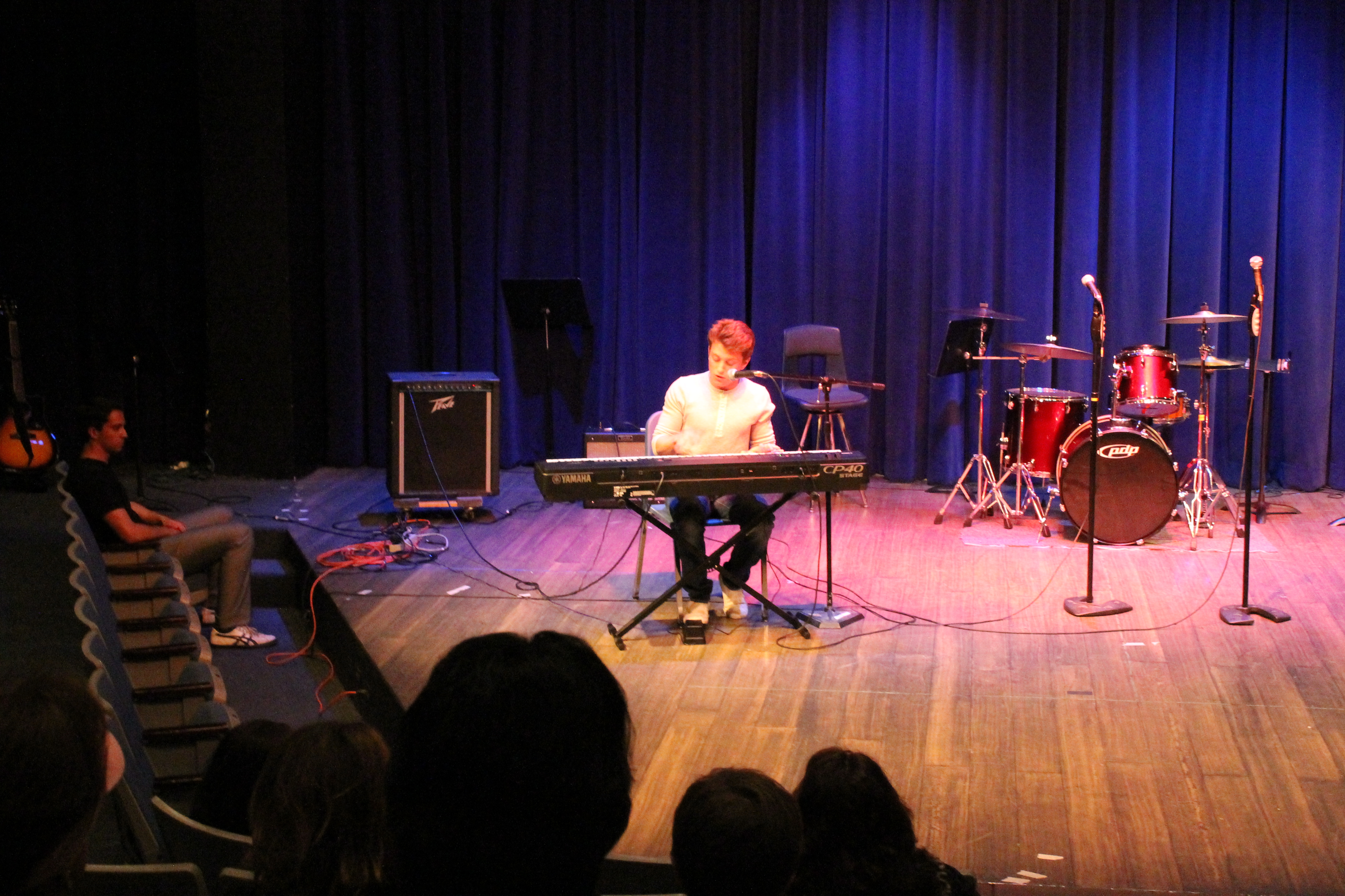 """Junior Jackson Prince performs the song """"Latch"""" by Disclosure in the talent show hosted in the Saltzer Theater."""