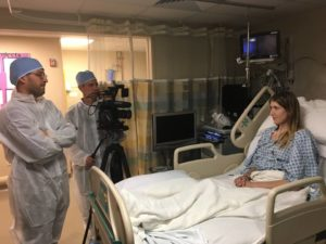 Mallory recovering in the hospital after receiving her double lung transplant. Photo courtesy: Diane Shader Smith