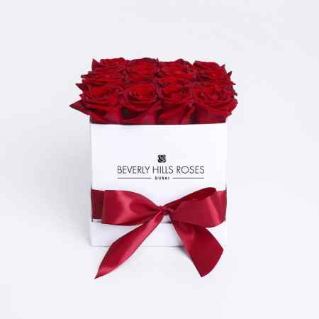 Square white rose box in Hollywood