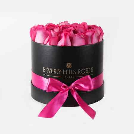 Medium black rose box in fuchsia