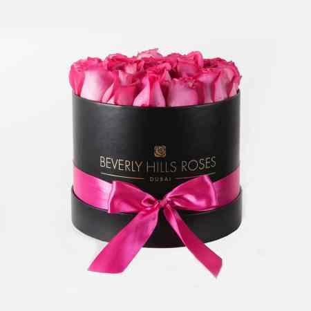 Medium black rose box in fuchsia