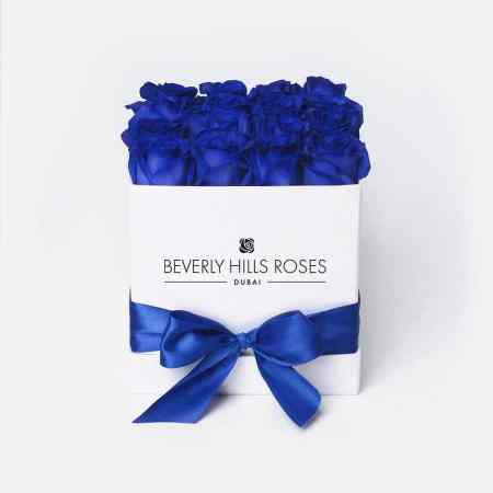Square white rose box in blue lagoon