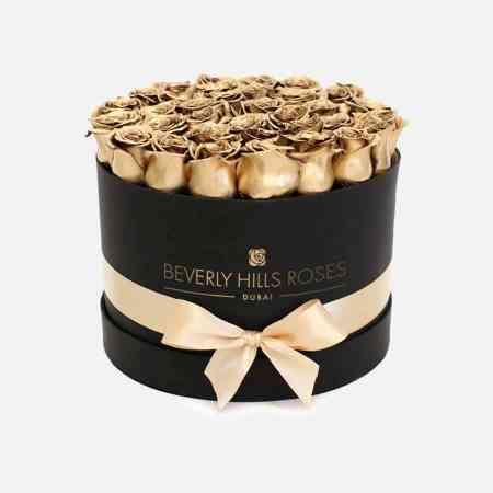 "Order Flowers Dubai ""Golden Globe"" in Medium Black Box"