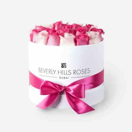 Medium white rose box in flirt