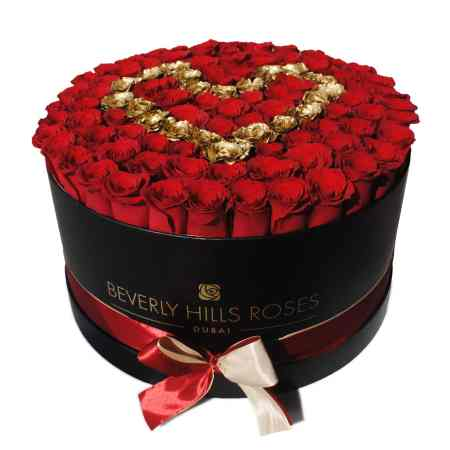 Large black rose box in love is gold02