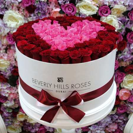 Large white rose box in passion