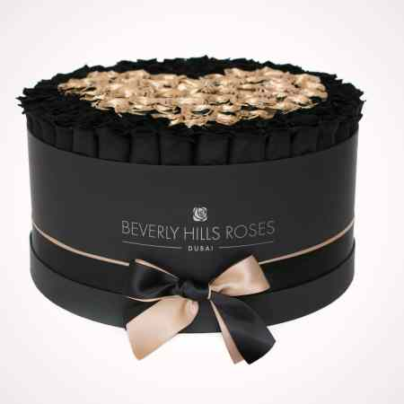 Large black rose box in love is magic