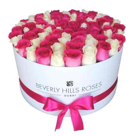 Large white rose box in flirt
