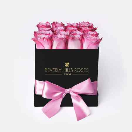 Square black rose box in candy