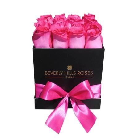 Square black rose box in Fuchsia