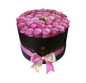 Purple & gold rose bouquet in flower box