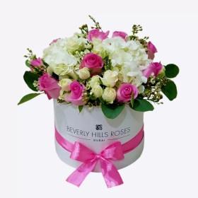 Pink Flowers & Hydrangea in round box