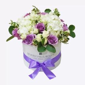 Purple rose & white hydrangea Bouquet