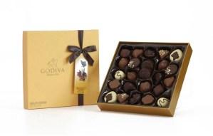 Godiva milk, dark and white chocolates in Gold Box