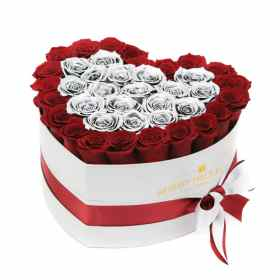 Red & Silver roses in Heart Box