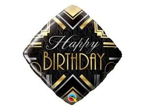 Birthday balloon black & gold