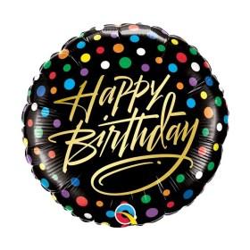 Birthday Gold Script & Dots round balloon