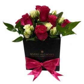 Pink & White & Fuchsia roses in Square Box